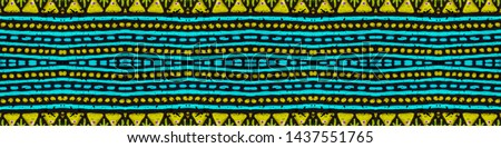 Bohemian print. Ethnic seamless pattern. Tribal decorative style. Peruvian folk drawing. Inca fashion illustration. Black, gold, purple, cyan, green bohemian print.