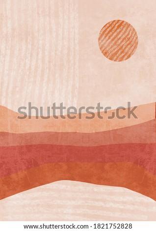 bohemian printable wall art, boho poster, pastel abstract art, landscape drawing, mountain painting. Abstract Arrangements. Landscapes, mountains. Posters. Terracotta, blush pink ivory beige