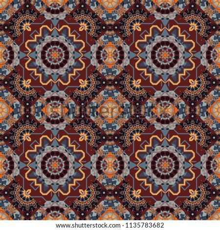 Bohemian style background in brown, gray and black colors. Decorative floral embroidery seamless pattern, ornament for textile, kerchief, pillow or handbag decor.