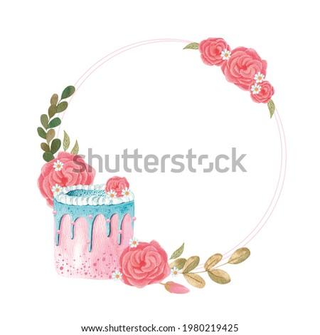 Boho cake wreath logo, Watercolor birthday cake  set, Dessert clipart, Sweet bakery clipart, Logo cake design, Pastel pink cake with flowers