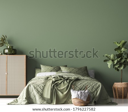Boho Chic bedroom, simple and comfortable design with trendy rattan home accessories, 3d render, 3d illustration