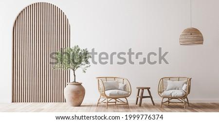 Boho cozy living room design, bright wall mockup, 3d render, 3d illustration
