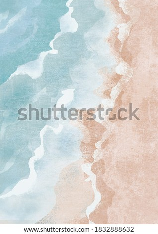 Boho Sea Beach with Waves Print.. Abstract Background. Bohemian printable wall art, boho poster, pastel abstract art, landscape drawing, sea painting. Abstract Arrangements.