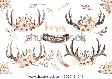 Boho Set of watercolor floral boho antler print. western bohemian decoration. Hand drawn vintage deer horns with flowers, leaves and herbs. Eco style hipster illustration on white.