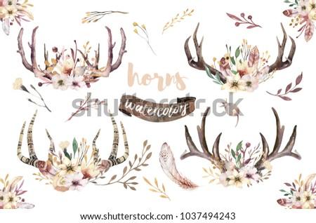 boho set of watercolor floral...