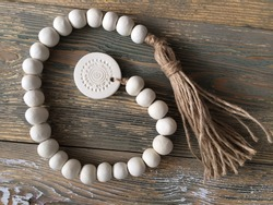 Boho style gift idea, Farmhouse Clay Garland With Tassels and Make a Wish Ornament, Handmade. Rustic decor, Scandi minimal decor. Air dry clay ornament make a wish