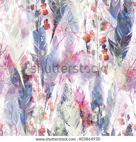boho style magic: twigs and feathers - seamless pattern - digital and watercolor mixed media fashionable artwork for textiles, fabrics, souvenirs, packaging, greeting cards and scrapbooking