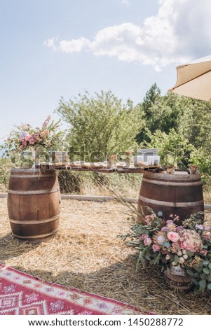 Boho wedding table with eco decor for guests. #1450288772