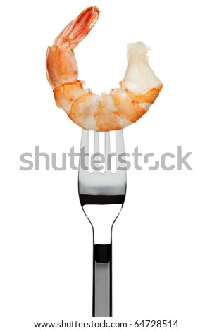 boiled black tiger prawn sticking on fork, isolated on white background