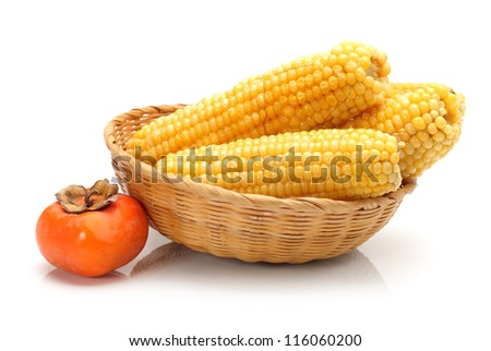 boiled corn isolated on the white background