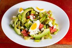 Boiled egg and avocado salad