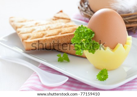 boiled egg with fresh toast