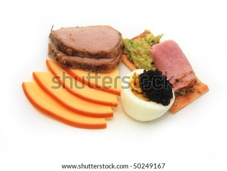 boiled eggs with caviar&ham cracker