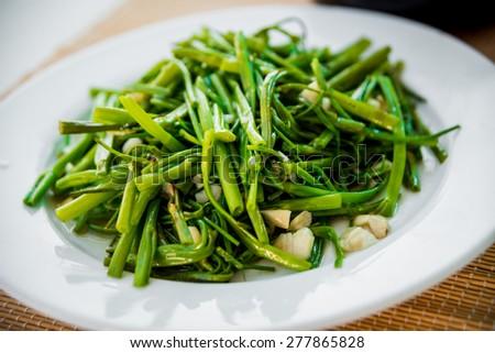 Boiled greens. Restaurant