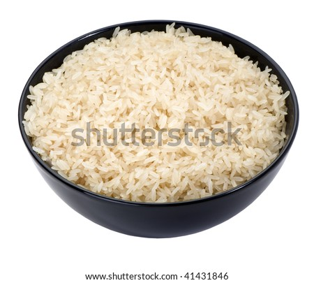 boiled long grain rice in black bowl close-up  isolated on white background
