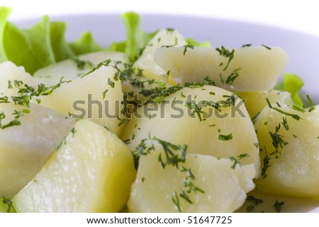 Boiled Potatoes with herbs. close up