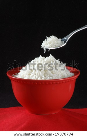 Boiled Rice in Spoon & Bowl
