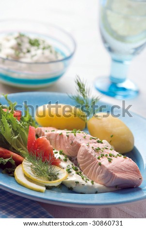 Boiled salmon with potato