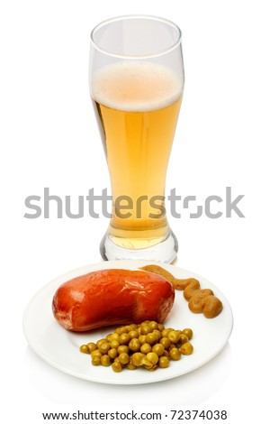 Boiled sausage with canned green peas with mustard and with lager beer
