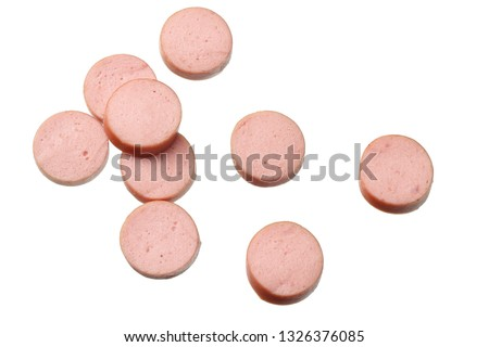 boiled sausages isolated on white background. top view Stock photo ©
