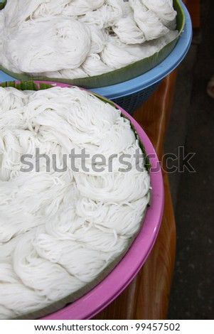 boiled Thai rice vermicelli, usually eaten with curries