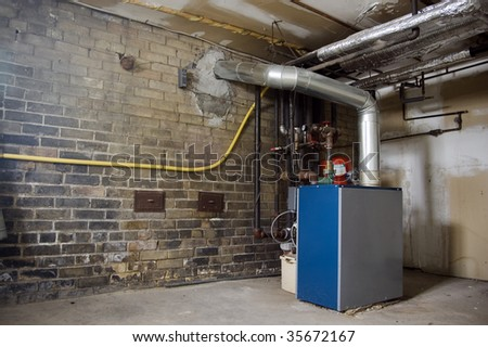 boiler in  basement / industrial dirty grunge background /