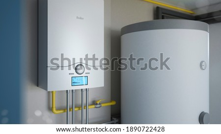 Boiler room - gas heating system, 3d illustration Сток-фото ©