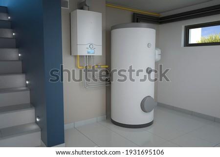 Boiler room - gas heating system, 3d illustration Foto stock ©