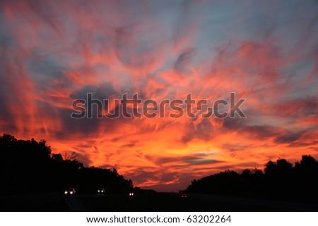 Boiling Sky over Oklahoma, Dramatic Fall Sunset over Tulsa