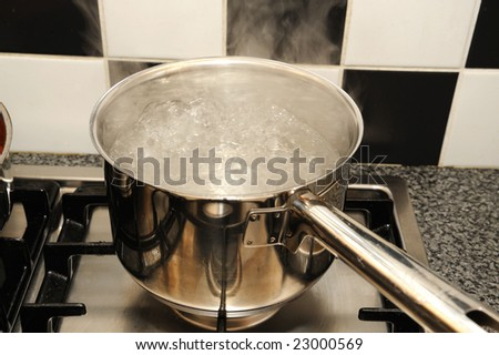Boiling water on a stove in the kitchen