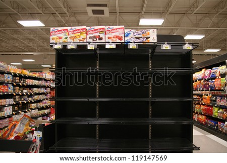 BOISE, ID - NOV 16:Â?Â? Hostess products disappear from shelves after Hostess Brands Inc. announced it filed a motion with the U.S. Bankruptcy Court to close its business. November 16, 2012 in Boise, ID. - stock photo