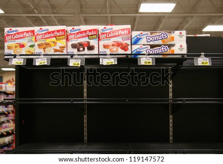 BOISE, ID - NOV 16:Â?Â? Hostess products disappear from shelves after Hostess Brands Inc. announced it filed a motion with the U.S. Bankruptcy Court to close its business. November 16, 2012 in Boise, ID.