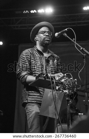 BOISE, IDAHO/USA - MARCH 29, 2015: Performer from TV on the Radio on stage singing