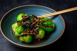 Bok choy stir-fry with mushroom and soy sauce