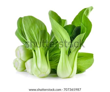 Bok choy vegetable on white background