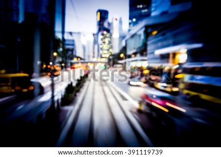 Bokeh Background of moving through Hong Kong street at night #391119739