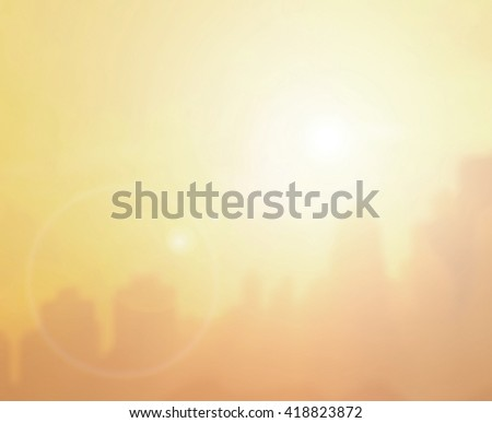 Bokeh city evening blurred background. warm sky sunny color Orange light patterns plain abstract flare evening clouds blur #418823872