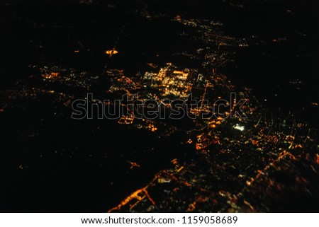 Bokeh city landscape at night from up above #1159058689