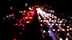 Bokeh from the trafficjam. Blurred traffic jam light.