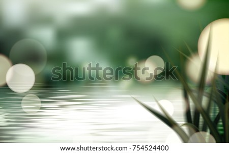 Bokeh lake or pond scene, refreshing nature background with glittering spots and grass  - Shutterstock ID 754524400