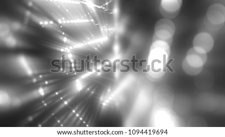 Bokeh light, shimmering blur spot lights on white and black abstract background. illustration digital.