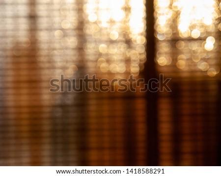Bokeh lights of bamboo window shade #1418588291