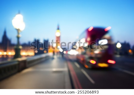 bokeh of Big Ben and Westminster Bridge London