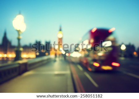 bokeh of Big Ben and Westminster Bridge, London
