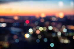 Bokeh of colorful night city lights. Blur city background.