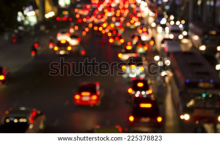 Bokeh of Evening traffic jam on road in city