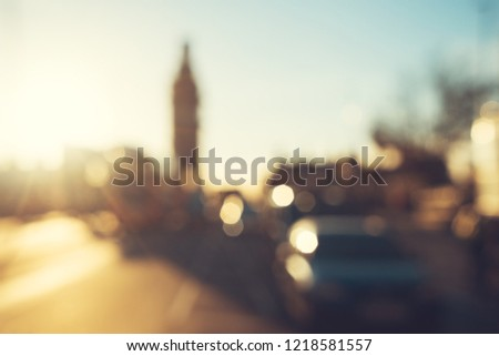 bokeh of Westminster Bridge at sunset, London, UK