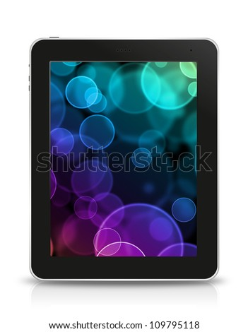 bokeh screen in tablet pc, isolated on background white