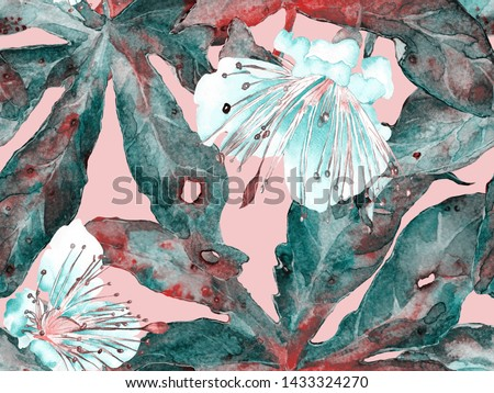 Bold Abstract Floral Pattern. Large Exotic Seamless Print on Green and Red Background. Big Tropical Summer Aquarelle Maracuya Endless Background. Modern Bold Abstract Floral Pattern.