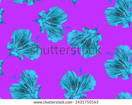 Bold Abstract Floral Pattern. Large Hawaii Seamless Print on Blue, Indigo Background. Big Exotic Spring Aquarelle Passion fruit Endless Background. Modern Bold Abstract Floral Pattern.